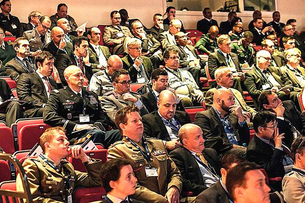 Delegates to the International Armoured Vehicles Conference in London.