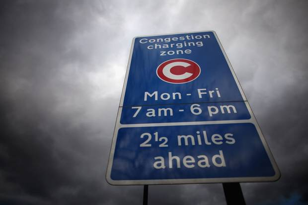 A congestion charge sign in London's Clapham district. A transportation committee recently suggested that the city drop its congestion charge for the city centre in favour of 'dynamic pricing.'