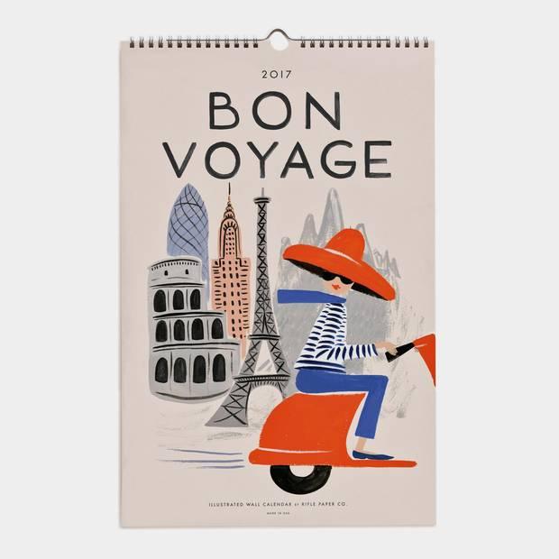 Bon Voyage 2017 Rifle Paper Co. oversized wall calendar, $29.95 at Indigo (www.chapters.indigo.ca).