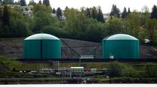 Storage tanks at Kinder Morgan's Westridge Marine Terminal on the south shore of Burrard Inlet in Burnaby, B.C. (DARRYL DYCK For The Globe and Mail)