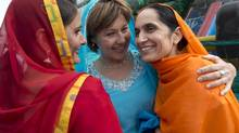 B.C. Liberal Leader Christy Clark, centre, attends the annual Vaisakhi Parade in Surrey, B.C., on April 20, 2013. (Jonathan Hayward/The Canadian Press)
