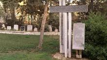 A memorial to the 550 Templers who had lived in Jeruslaem or in other Templer communities near Tel Aviv and Haifa sits in the cemetery. (Handout/Patrick Martin)