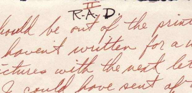 'R.A.D,' or 'read and destroy,' is noted at the top of a page in one of John's letters. Excerpts from this letter and others are included in the story below.