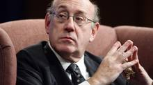 """In this Oct. 27, 2009 file photo, Special Master for Executive Compensation Ken Feinberg, also known as the Treasury Department's """"pay czar,"""" speaks during a discussion at Georgetown Law Center in Washington. (Charles Dharapak/AP)"""