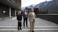 Carolyn Warren, vice-president Arts, left, senior radio producer Dominic Girard and president Jeff Melanson at the Banff Centre for the Arts in Banff, Alta., October 30, 2013. (Todd Korol for The Globe and Mail)