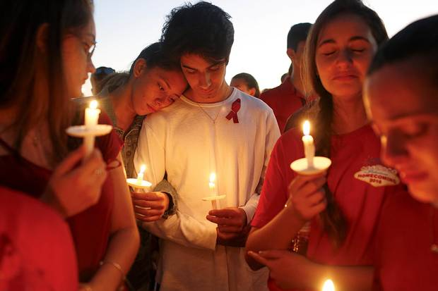 Feb. 15, 2018: Students gather during a vigil at Pine Trails Park in Parkland, Fla., for the victims of the shooting.