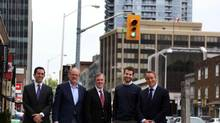 Where five developers intersect: Maurice Wager from Shiplake Management Company, Chris Sherriff-Scott from Minto Communities, James Ritchie from Tridel Corp., Jared Menkes from Menkes Developments Ltd., and Todd Cowan from CD Capital at Yonge St. near Eglinton Ave. (Fernando Morales/The Globe and Mail)