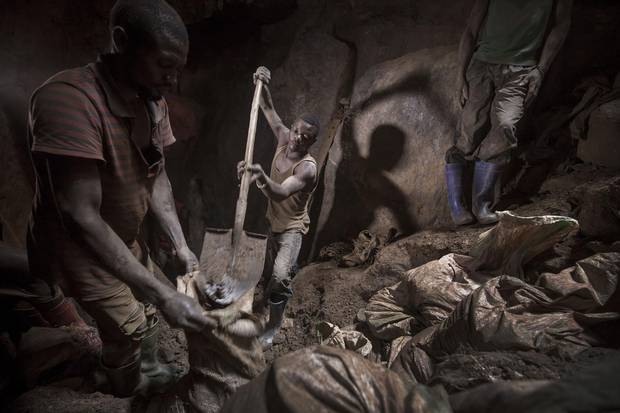 Miners in underground tunnels and mine shafts at work in the Unipe Nikupe gold mine, June 2017.