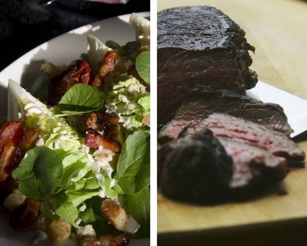 One wedge salad: Depending on portion size and ingredients, 250 to 650 calories. One seven-ounce steak strip: 250 calories.