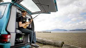 Actor Fred Ewanuick is photographed at Spanish Banks beach in Vancouver with his 1992 VW Westfalia.
