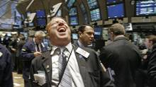 Happy trader on the New York Stock Exchange