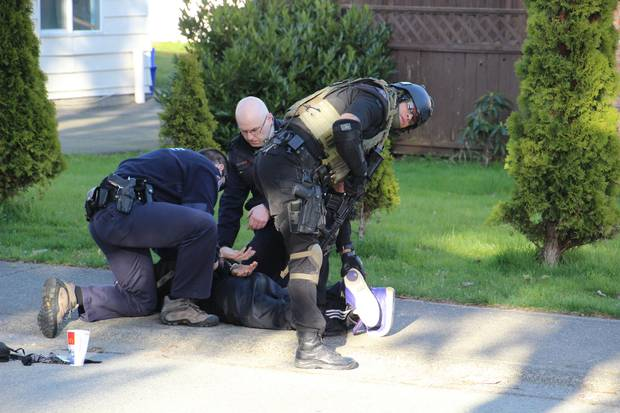 Surrey, 2013: RCMP officers make an arrest. In the early 2000s, Surrey – which then had some 400 Mounties for a growing population of 400,000 – considered establishing its own police service, but expert witnesses and civil servants dissuaded the city from doing so.