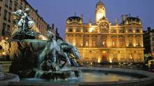 The Hotel de Ville (city hall) and the Bartholdi fountain in Lyon, France. (Vincent Formica/Office du Tourisme de Lyon)