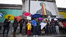 Students rally outside of the Vancouver Art Gallery in protest of the first day of school being cancelled due to an ongoing teachers' strike across British Columbia. (Ben Nelms For The Globe and Mail)