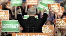 New Democratic Party (NDP) leader Jack Layton gives thumbs up to the crowd at a campaign rally in Gatineau, Quebec, April 25, 2011. Canadians will go to the polls in a federal election on May 2. (Patrick Doyle/Reuters/Patrick Doyle/Reuters)