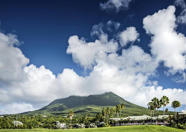The volcanic Nevis Peak – which stands at 985 metres – dominates the island's skyline.