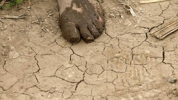A female farmer's foot is covered with mud as she works on a farm in Langfang, Hebei province. China has witnessed a growing disparity between the prosperous cities and the impoverished countryside since the early 1990s. (KIM KYUNG-HOON/REUTERS)