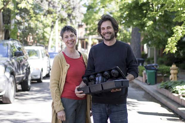 Sword St. residents Bill and Jacqui Jeffers stand with their flower planters that are not recyclable because they are made of black-plastic.