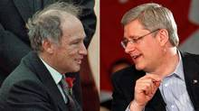 Former Liberal prime minister Pierre Trudeau and Tory Leader Stephen Harper are shown in a photo combination. (The Canadian Press and Reuters)