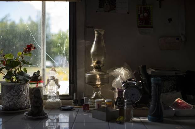 Belongings on Jackie Vautour's kitchen table.