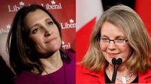 Liberal Chrystia Freeland, left, was acclaimed as the party's candidate in the new Toronto riding of University-Rosedale, but contender Christine Innes, right, is suing leader Justin Trudeau and party officials for what she says was a decision to bar her from running for the party.