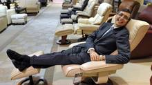Terry Leon, president and CEO of Leon's Furniture, relaxes in his flagship Toronto store after announcing the purchase of the Brick. (J.P. MOCZULSKI/J.P. MOCZULSKI)