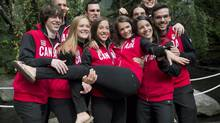 The Canadian Olympic short-track speed-skating team is unveiled Thursday. (Graham Hughes/THE CANADIAN PRESS)