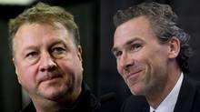 The Canucks have fired GM Mike Gillis, left, and brought in former star Trevor Linden as president. (Darryl Dyck and Jonathan Hayward/CP)