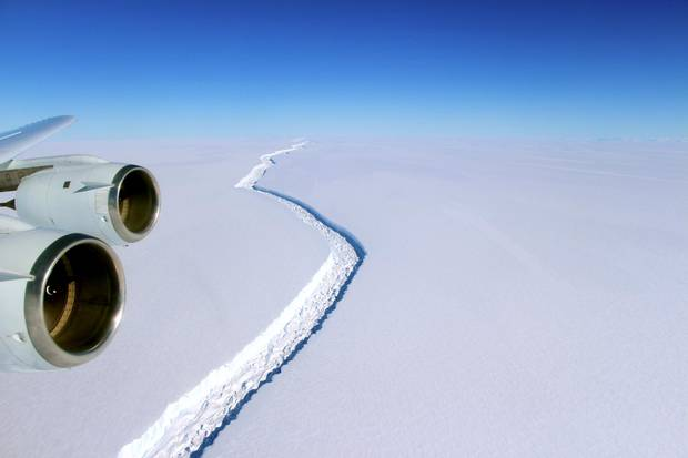 On Nov. 10, 2016, scientists on NASA's IceBridge mission photographed an oblique view of a massive rift in Antarctica's Larsen C ice shelf. The crack completely cuts through the shelf, but does not yet span its entire width. The rift has been around since at least the 1950s, when it was captured on satellite images, but since December of last year, it has grown the length of about five football fields each day.