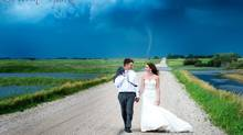 Photographer Colleen Niska's images of Saskatchewan newlyweds with a twister in the background have gone viral on social media. (COLLEEN NISKA)