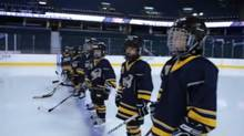 Screengrab from a Sport Chek commercial in which minor hockey league players play in NHL arenas.