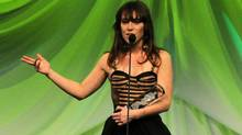 Feist receives the Juno for Adult Alternative album of the year for her album Metals during the Juno Gala dinner in Ottawa on Saturday, March 31, 2012. (Sean Kilpatrick / The Canadian Press/Sean Kilpatrick / The Canadian Press)