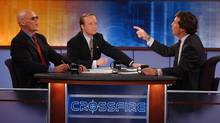 James Carville, left, Paul Begala and Tucker Carlson trade arguments on CNN's Crossfire in 2002.