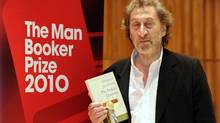 "Howard Jacobson with his prize-winning book ""The Finkler Question"" at the Man Booker Prize ceremony in London on Tuesday, Oct. 12. (PAUL HACKETT/Reuters)"