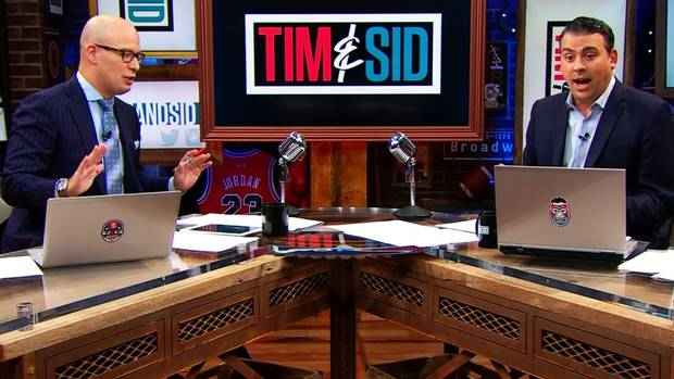 Tim Micallef and Sid Seixeiro on the Tim & Sid show on Sportsnet. Phony set, phony talk, phony-baloney opinions.