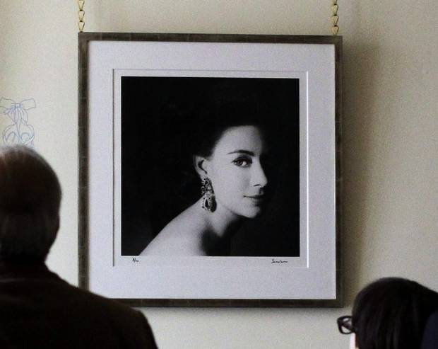 A photograph of the late Princess Margaret, center, taken by her then husband Lord Snowdon in 1967 during a press preview at what will be William and Kate's official residence, Kensington Palace in London, Tuesday, March 20, 2012.