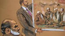 Suleiman Abu Ghaith, a son-in-law of Osama bin Laden, is shown in this courtroom sketch in Manhattan Federal Court in New York, March 5, 2014. (JANE ROSENBURG/REUTERS)