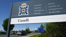A sign for the Canadian Security Intelligence Service building is shown in Ottawa, Tuesday, May 14, 2013. The RCMP are to release an update on a national security investigation on Dec. 1, 2013, led by Integrated National Security Enforcement Team in Toronto, which includes officials from the RCMP, the Canadian Security Intelligence Service and the Canada Border Services Agency. (Sean Kilpatrick/The Canadian Press)