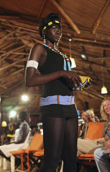 A South Sudanese model wears a creation at the Festival for Fashion and Arts for Peace held in Juba, Republic of South Sudan (STRINGER/REUTERS)