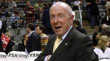 Larry Tanenbaum, Chairman of Maple Leaf Sports & Entertainment, walks off the court during the Toronto Raptors and Washington Wizards NBA basketball game in Toronto, December 1, 2010. (MIKE CASSESE/REUTERS)