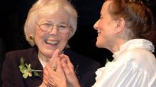 Judy Mappin, left, with Hélène Holden, one of the three original partners who started the bookstore, at a Mappin tribute at Montreal's Centaur Theatre, 24 Oct 2005. (Courtesy of Véhicule Press)