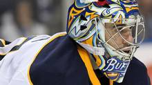 Buffalo Sabres goalie Ryan Miller (30) during the third period against the Toronto Maple Leafs at the First Niagara Center. Buffalo defeats Toronto 3 to 2. Timothy T. Ludwig-US PRESSWIRE (Timothy T. Ludwig-US PRESSWIRE/Timothy T. Ludwig)