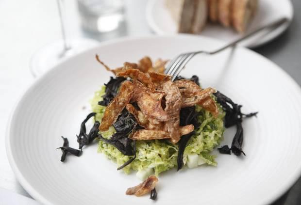Roasted black trumpet mushrooms at Agrius Restaurant in Victoria.