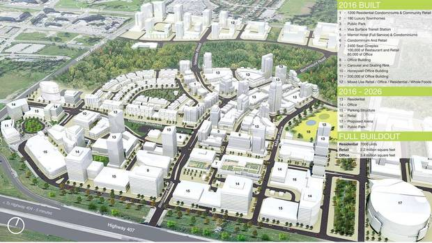 This rendering shows the long-term plan for Downtown Markham, a new mixed-use development northeast of Toronto in the City of Markham. The 240-acre suburban site is bounded by the Rouge River to the north, Warden Avenue to the east, and Highway 407 to the south. (Quadrangle Architects Ltd.)