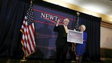 U.S. Republican presidential candidate and former Speaker of the House Newt Gingrich stands with his wife Callista during a rally in Jacksonville, Fla., Jan. 30, 2012 (Shannon Stapleton/Reuters/Shannon Stapleton/Reuters)