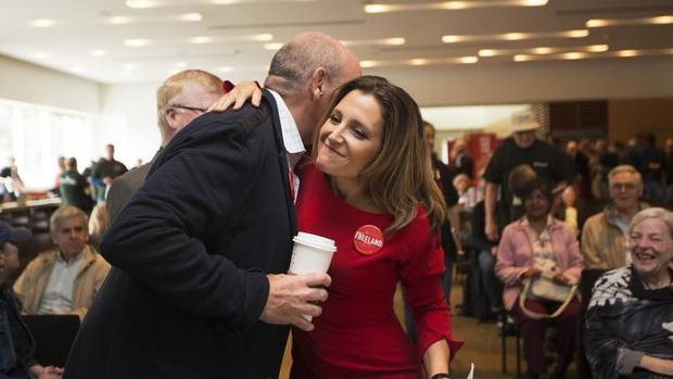Toronto Centre Liberal Nomination winner Chrystia Freeland is congratulated by former Liberal MPP George Smitherman, September 15, 2013; Michelle Siu for the Globe and Mail