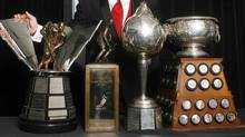 A selection of NHL awards - Maurice Richard Trophy, Lester B. Pearson Trophy, Hart Memorial Trophy and the Art Ross Trophy (MIKE CASSESE/REUTERS)