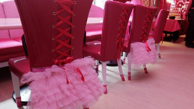 Even the chairs are decorated -- with corseted backs and hot-pink tutu skirts -- in the café, which is licensed by Mattel. (PICHI CHUANG /REUTERS)
