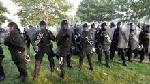 Police officers in riot gear at Queen's Park in Toronto on Saturday, June 26, 2010. (Roger Hallett/The Globe and Mail)