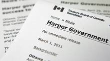 A Treasurey Board press release that uses the Harper Government headline instead of the traditional Government of Canada moniker. (Adrian Wyld/The Canadian Press/Adrian Wyld/The Canadian Press)